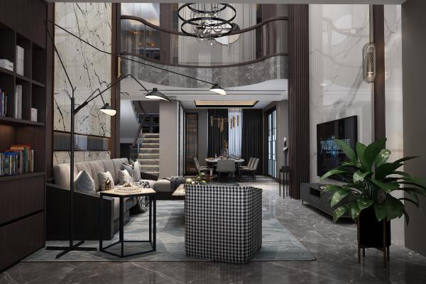现代客厅 沙发茶几 餐桌椅 酒柜 吊灯