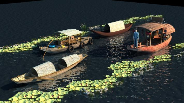 中式舰船 木船 游船