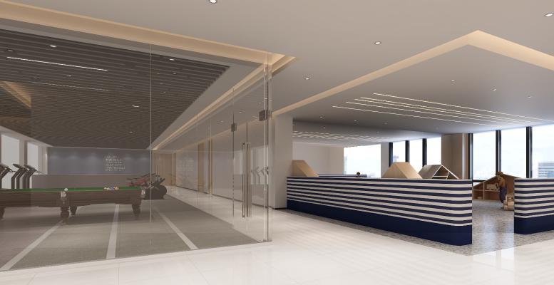 现代健身房 桌游 休闲娱乐室