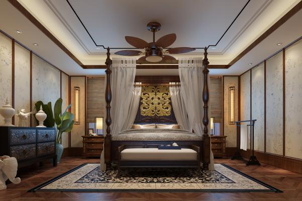 东南亚卧室 床