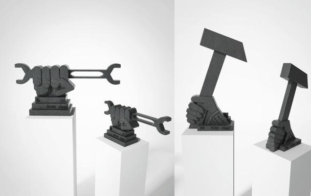 现代抽象雕塑 锤子扳手雕塑摆件