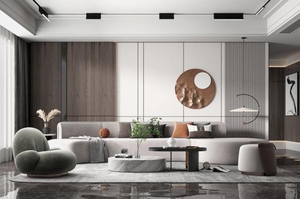 现代客厅 弧形沙发 休闲椅 茶几 墙饰 装饰摆件