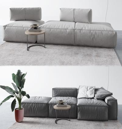 现代布艺沙发 盆栽