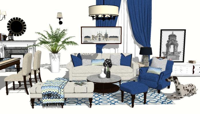 美式轻奢家装客厅 家具组合 沙发组合