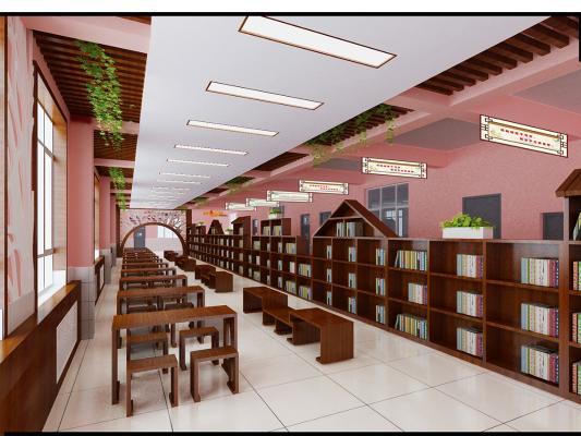 新中式风格图书馆 书架 书桌