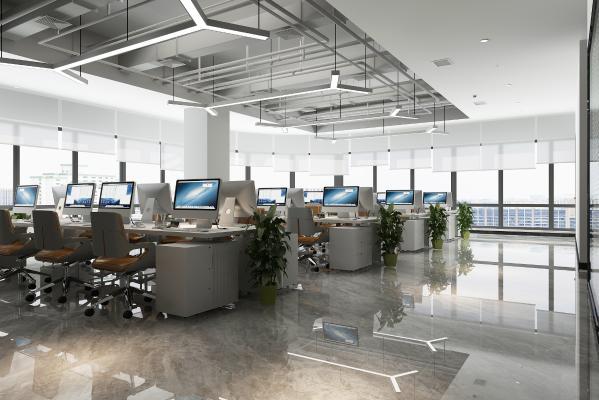 现代敞开式办公室 吊灯 办公桌椅