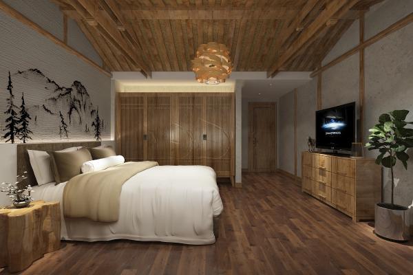 东南亚民宿卧室 双人床 床头柜