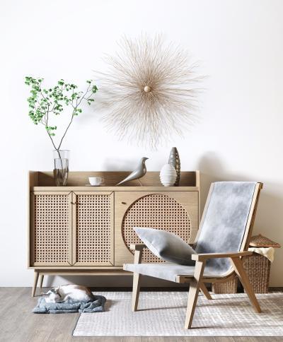 北欧玄关边柜 单椅 吊钟 植物 装饰组合