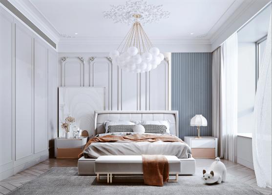 法式卧室 布艺双人床 石膏线条