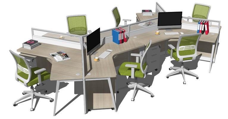 现代办公桌椅 员工卡位 职员工位