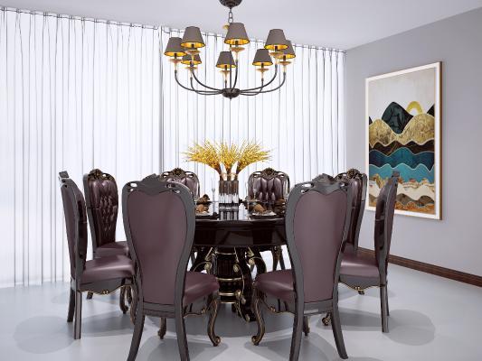欧式圆形餐桌椅组合 欧式圆桌餐桌椅 欧式吊灯