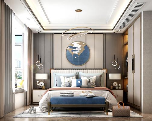 新中式 床 窗帘