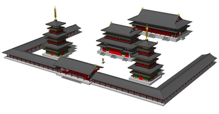 中式古建筑 大雄宝殿 佛寺