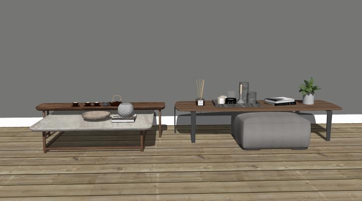 新中式风格凳子茶几组合 新中式实木茶桌椅 禅意茶桌椅