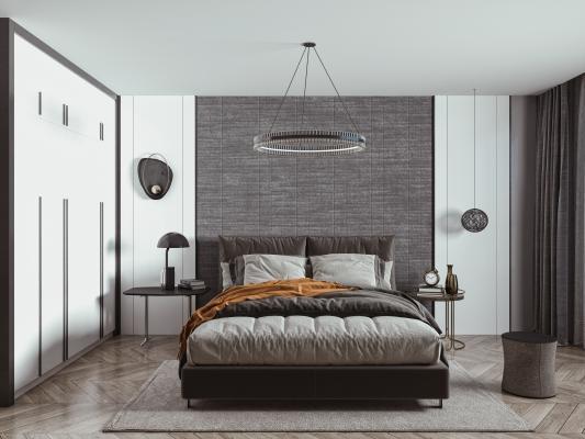 現代雙人床 吊燈組合 床頭柜