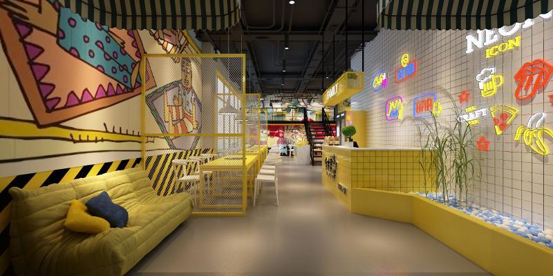 工业风串串店 桌椅 吊灯 装饰品 装饰画 沙发 吧台 楼梯