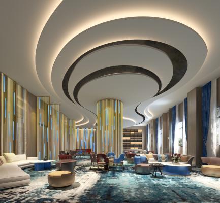 现代酒店大堂 休息区 沙发