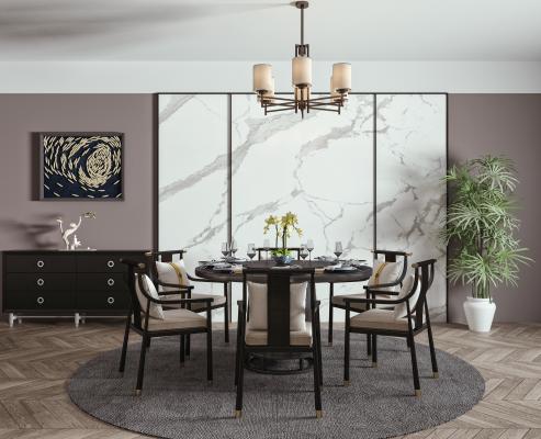 新中式圆形餐桌椅 吊灯组合 圆形餐桌 餐椅