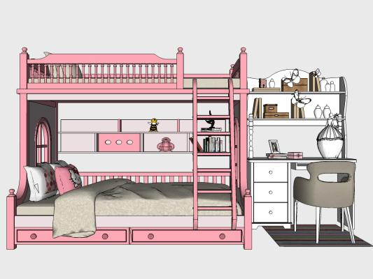 现代儿童房软装组合 儿童床 家具 书桌