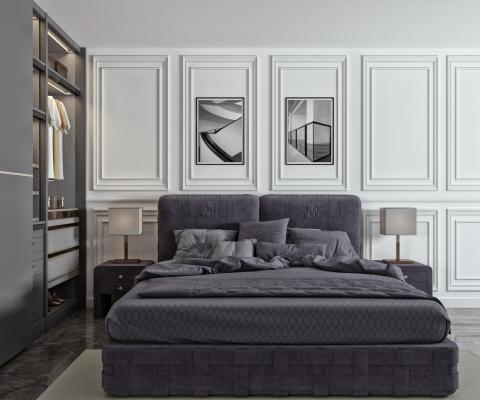 现代双人床 衣柜 抱枕