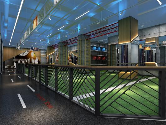 现代健身房 单车房 私教区活动室泳池