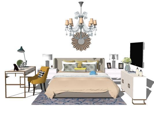 美式卧室床具组合 双人床 床头背景 吊灯 书桌椅 电视柜
