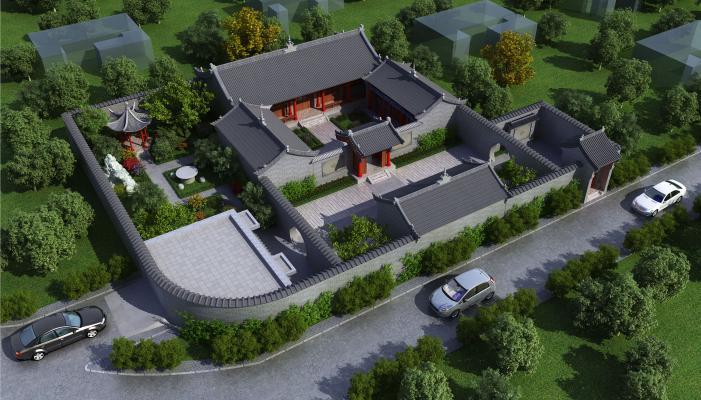 新中式民居四合院 自建房