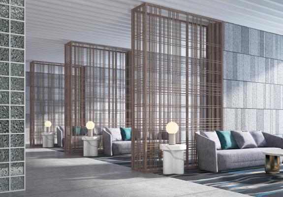 新中式酒店大堂接待区 会客厅休息区