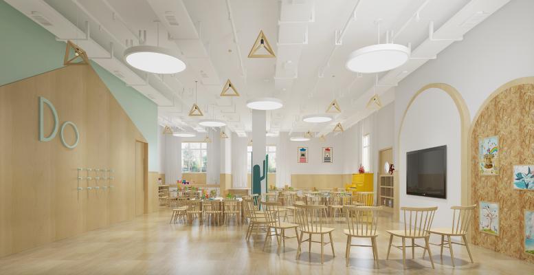 北欧幼儿园教室 吊灯 挂画