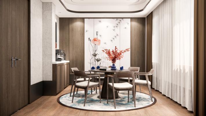 新中式餐厅 餐桌椅 餐边柜