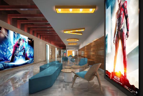 现代电影院 过道 大厅