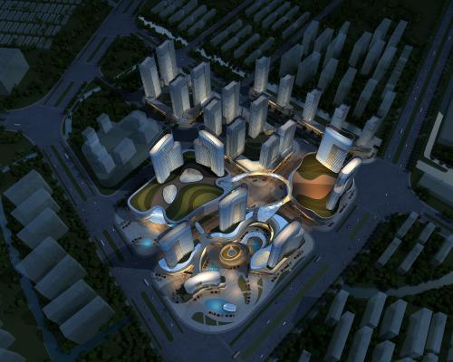 现代高层建筑鸟瞰夜景规划 城市综合体 城市规划