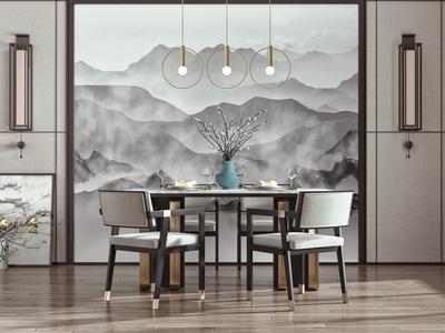 新中式餐厅 餐桌椅 方形餐桌