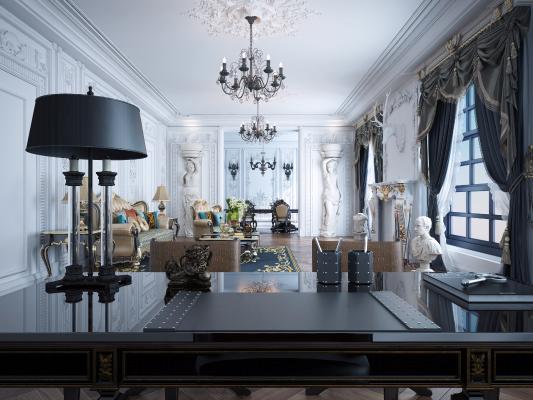 欧式古典客厅 石膏线 石膏像