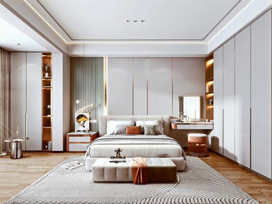 现代轻奢卧室 布艺双人床 床头柜