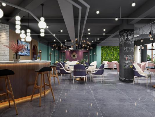现代咖啡厅 吊灯 咖啡椅组合