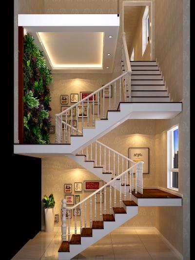 简欧楼梯间 绿植墙