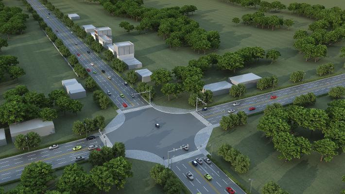 现代道路规划鸟瞰