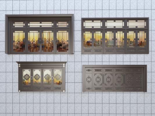 新中式风格铜门 办公楼入户门 双开门