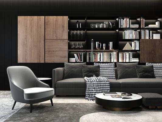 现代高级灰沙发 椅子 茶几组合