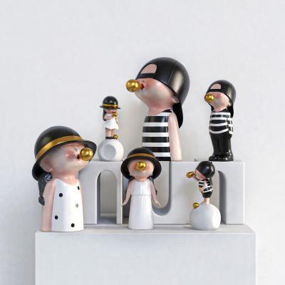 Dnnni�F代�[件�M合 吹泡泡小孩 �渲�雕塑