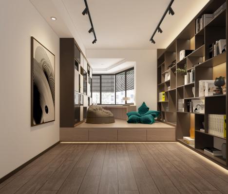 现代卧室 书房