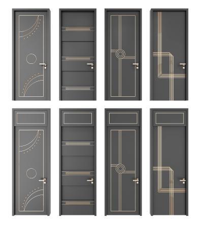 现代房门加高门组合