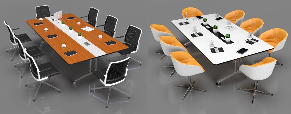 现代小型会议桌椅3D模型