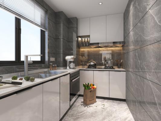 現代風格廚房 櫥柜 油煙機 灶具