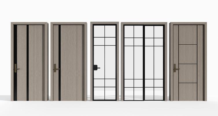 现代门 玻璃门 推拉门组合