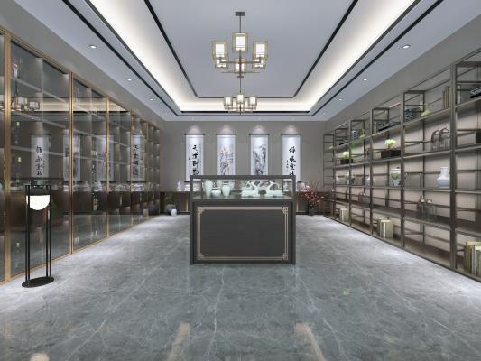 新中式风格收藏室 博古架 展架