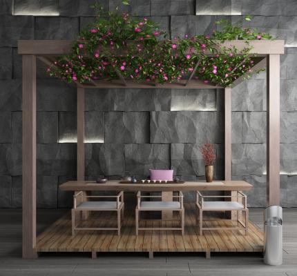 新中式花园阳台 葡萄架 长廊 石头 背景墙组合