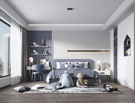 现代男孩房,儿童房, 双人床, 吊灯