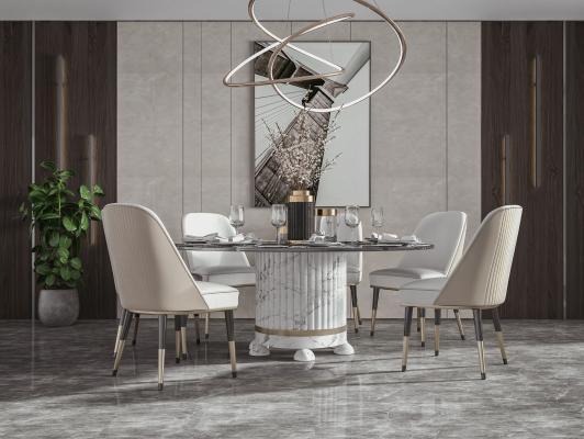 现代餐厅 餐桌椅 圆形餐桌